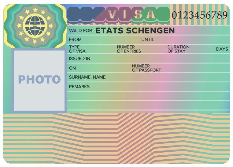 نموذج ملصق تأشيرة شنغن
